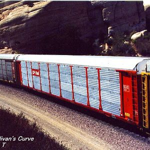 With CP freight car at Cajon Pass