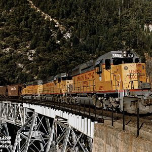 SD40-2's on Rock Creek Trestle