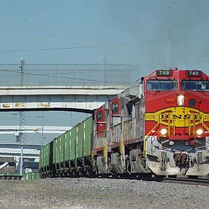 BNSF749 on grain train