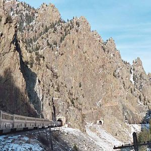 Entering Gore Canyon's series of tunnels