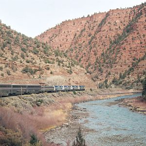 The California Zephyr through a red canyon