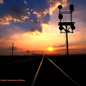 Nickel Plate Signals at sunrise Townwood, Ohio 2002