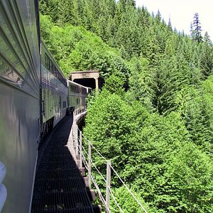 Entering a tunnel in scenic Cascades mountain range of southern Oregon