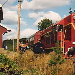 Excursion train at a closed station.