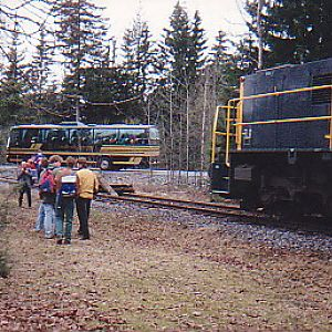Excursion train at the end of an abandone line.