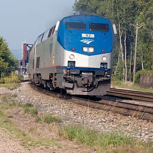 America's Train rounds the curve in to La Crosse