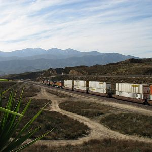Westbound BNSF Double Stack Drops Down from Cajon Summit