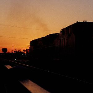 A CP train heads into the sunset.