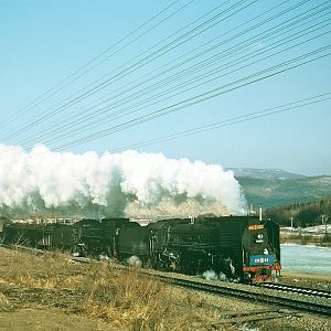 Eastbound Double Headed QJ's Near Nancha, Heilongjiang
