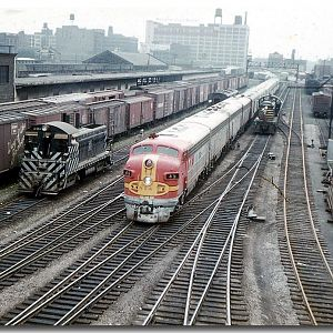 A Santa Fe Chief Train arrives in Chicago.  Taken from Roosevelt Rd