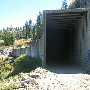 entrance to one of the old donner pass snow sheds