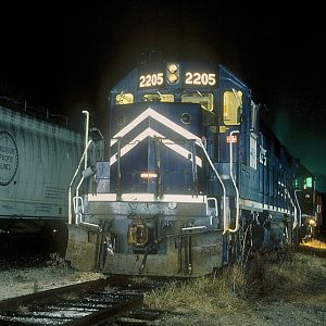 MP GP-38-2 #2205, Cotter, AR, Nov. 24, 1990, photo by Chuck Zeiler