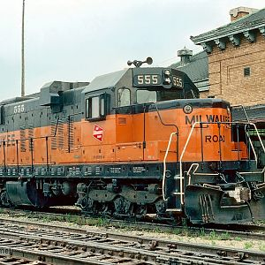 CMStP&P Milwaukee Road 555 (SD10) at Madison, WI