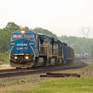 Westbound CSX Q641 with Ex-Con in the lead
