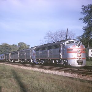 CB&Q E-8 #9938A, Naperville, IL, August 21, 1964, photo by Chuck Zeiler