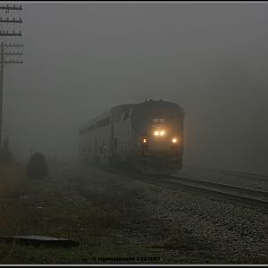 Amtrak 371 Pere Marquette pops out of the fog in New Buffalo, MI