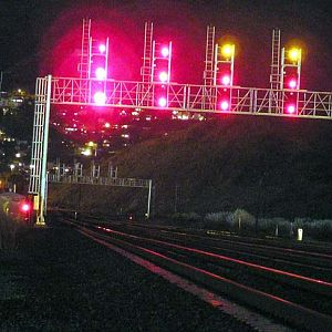 CalTrain Signal Bridge at Night