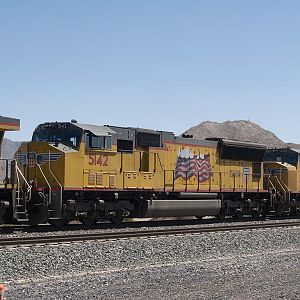 UP 5142 is #2 unit in a WB doublestack