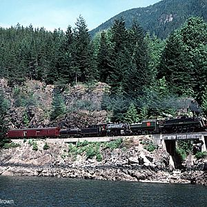 CN 6060 and CP 3716 along Howe Sound