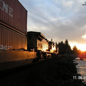 Southbound K-Line Stacks at Steilacoom, Washington.