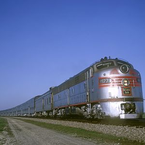 CB&Q E8 9977, Naperville, IL, April 28, 1965, photo by Chuck Zeiler