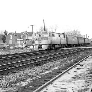 CB&Q E7 9929A, Naperville, IL, Dec. 1, 1963, photo by Chuck Zeiler