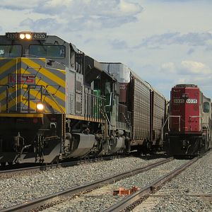 BNSF 'Q'Train With Foreign Power