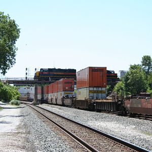 IAIS 714 and 709 over a CSX Intermodel