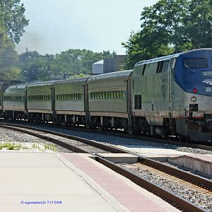 Amtrak's 350 Wolverine pulls out of Niles heading east