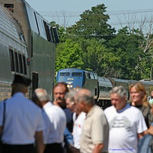 Amtrak 350 and 365 meet in Niles, Michigan