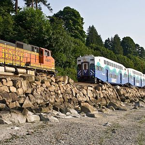 A Meet with a BNSF Z Train and Sounder Train #1700
