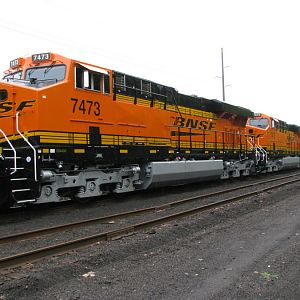 New BNSF GE Locomotives on the CSX/GE interchange at Erie, PA. 9-28-2008