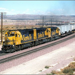 Santa Fe GP60's power the 198 Train at West Barstow.