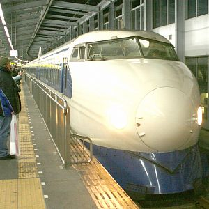 0 Series Shinkansen leaving Kokura