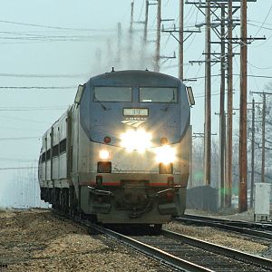 Amtrak 351 heads west through Dowagiac, MI