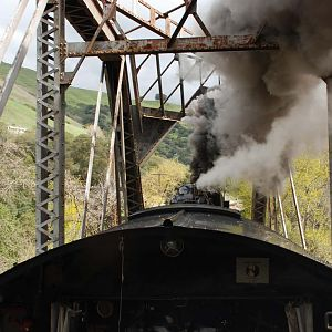2472 making smoke across a truss bridge