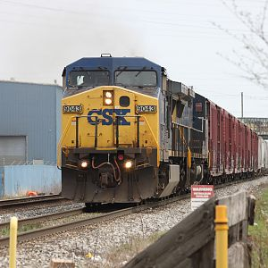 CSX #9043 C44-8W west, pacing train from Miller through Gary