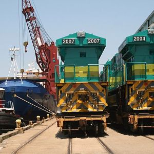 Locomotives awaiting to be loaded aboard ship