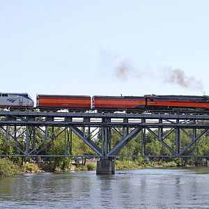 SP 4449 crossing the St. Joseph River, Niles, MI