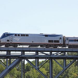 Amtrak #30 P42DC crossing the St. Joseph River Niles, MI