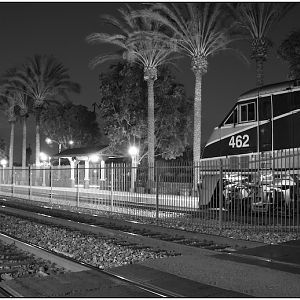 Amtrak 462 greeted by the moon at Fullerton Station