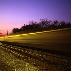 Time exposure of freight train