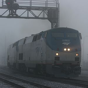 Amtrak in the fog