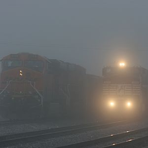 BNSF & NS in the Fog