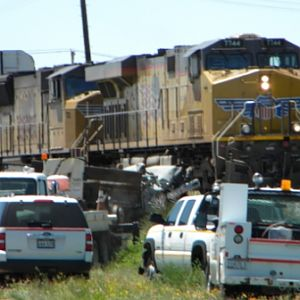 Union Pacific train hits a truck stuck on the tracks