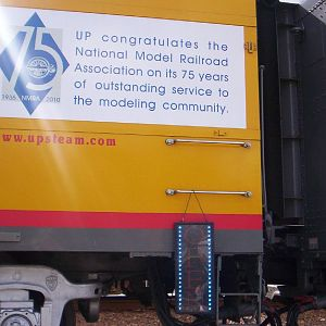 Placard honoring NMRA on UP souvenir car