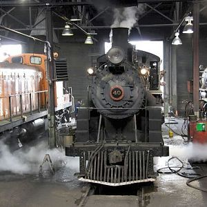 Nevada Northern's #40 backing out of the engine house