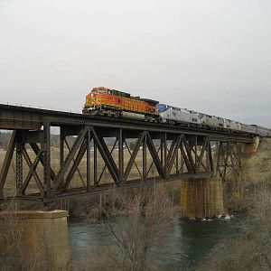 Empire Builder crossing Spokane river