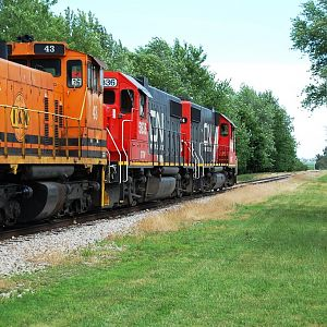 CN Peoria Local Emden Il  with I&M switcher trailing