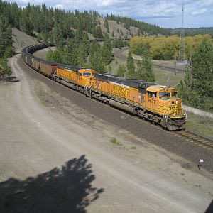 BNSF coal train at Marshall WA